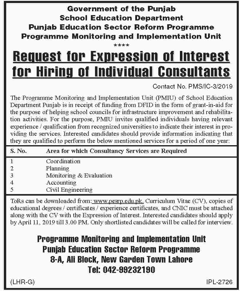Government of the Punjab School Education Department Jobs 2019 2019