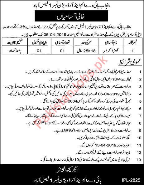 Cleaner Jobs in Punjab Highway M&R Division 2019 Punjab