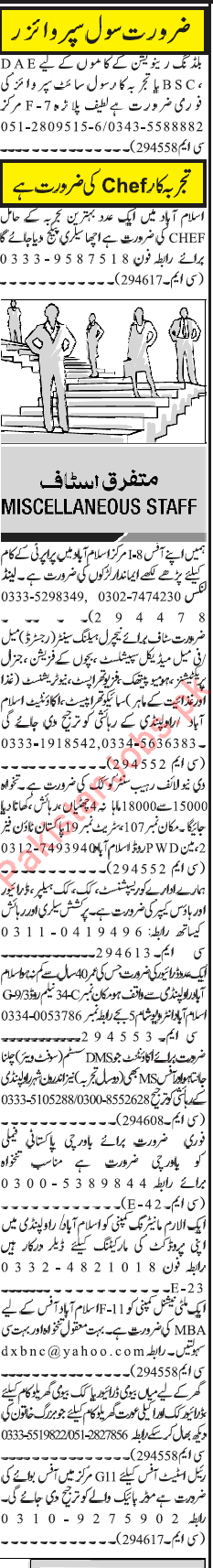 Miscellaneous Staff Jobs in Islamabad 2019 2019 Private