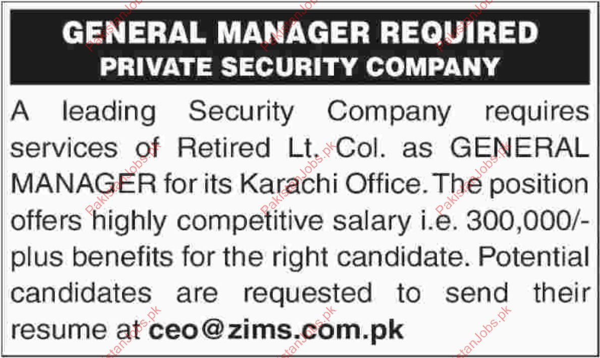 ZIMS Security Pvt Limited Jobs 2019 2019 ZIMS Security Pvt Limited