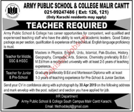 Army Public School & College Jobs 2019 2019 Army Public