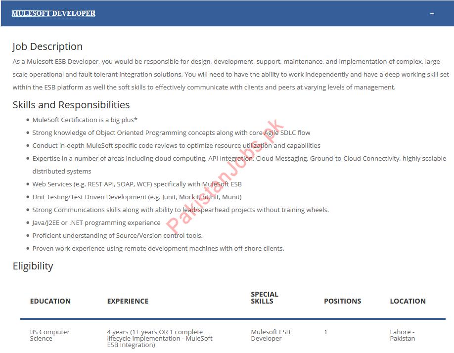 Mulesoft ESB Developer Job in Lahore