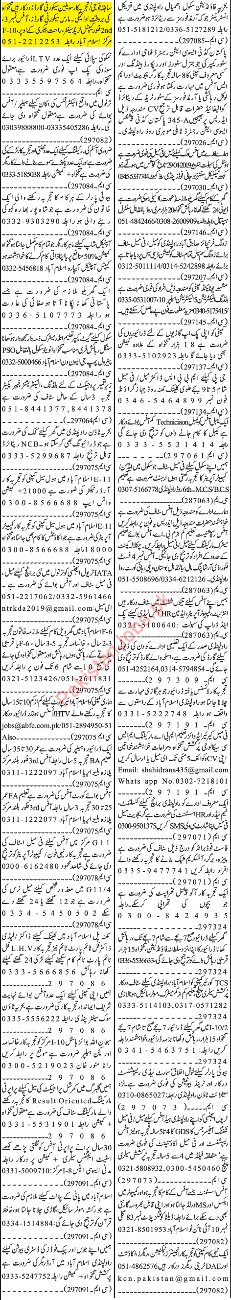 Jang Sunday Classified Ads 28th April 2019 for General Staff 2019