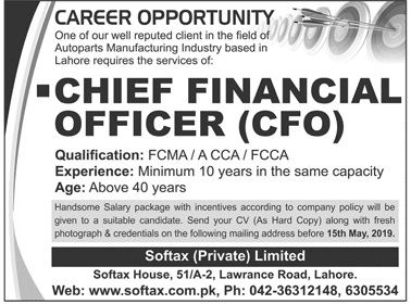 Chief Financial Officer CFO Job in Lahore 2019 Softax House