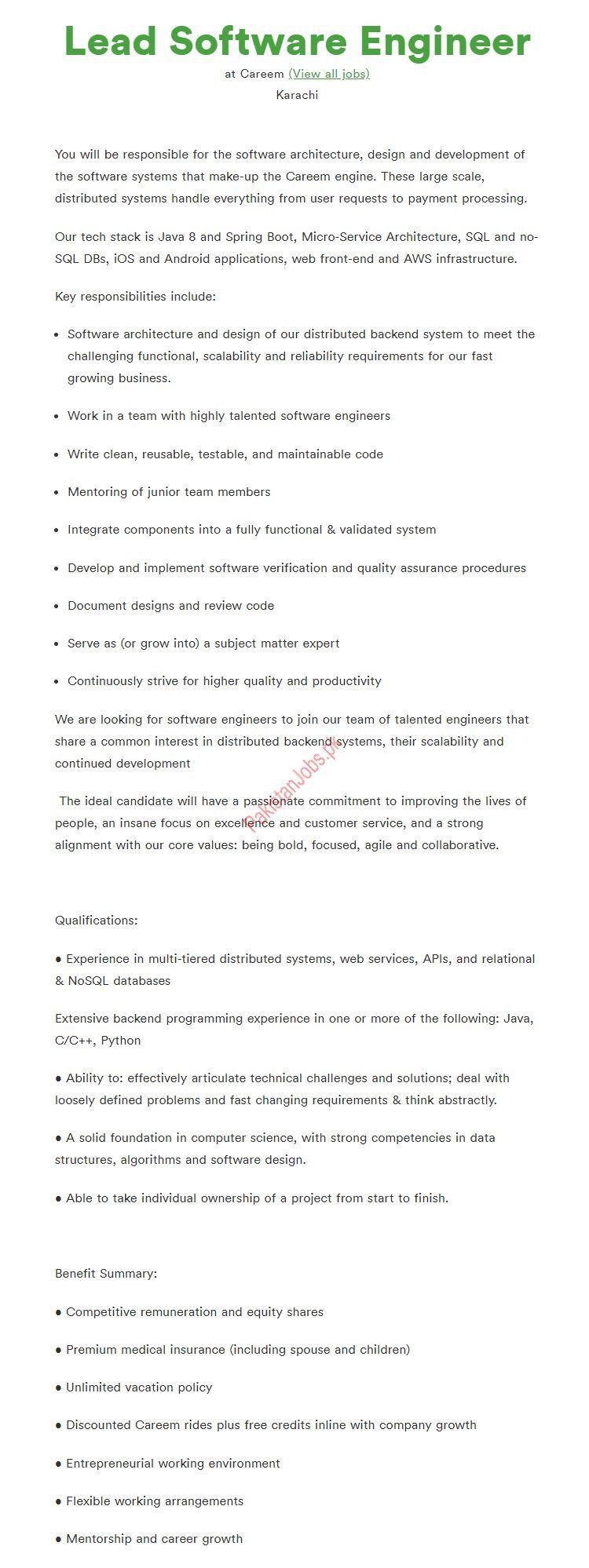Lead Software Engineer Job in Karachi 2019 Careem Taxi Company Jobs