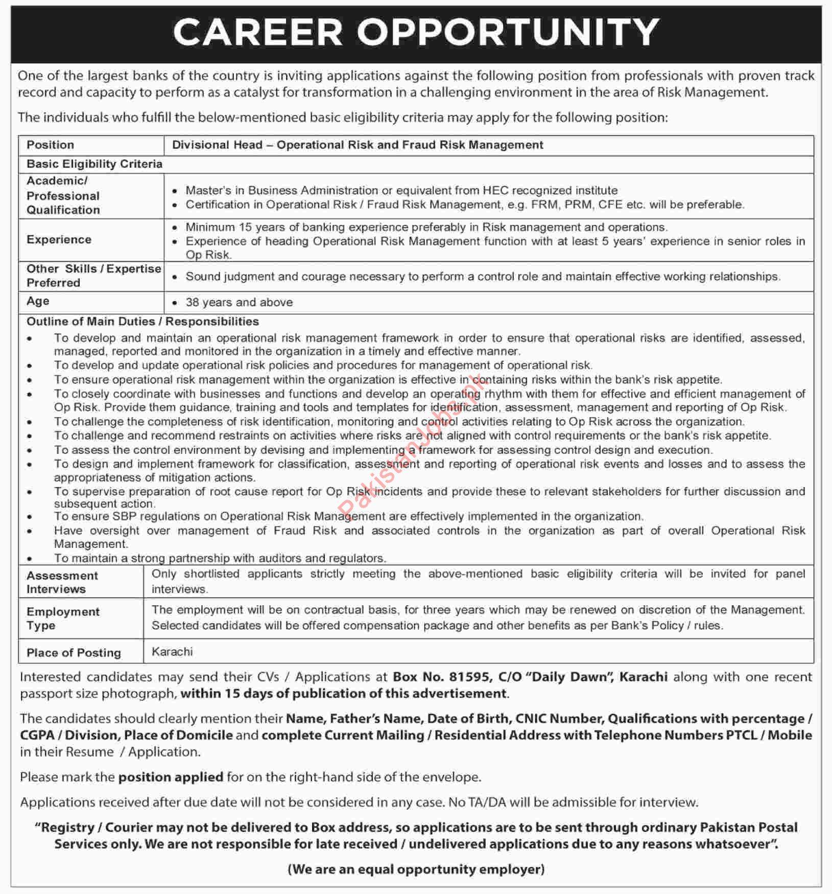 Banks Jobs In Karachi 2019