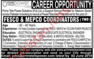 FESCO & MEPCO Coordinator Jobs in Prime Tele Power Solution 2019