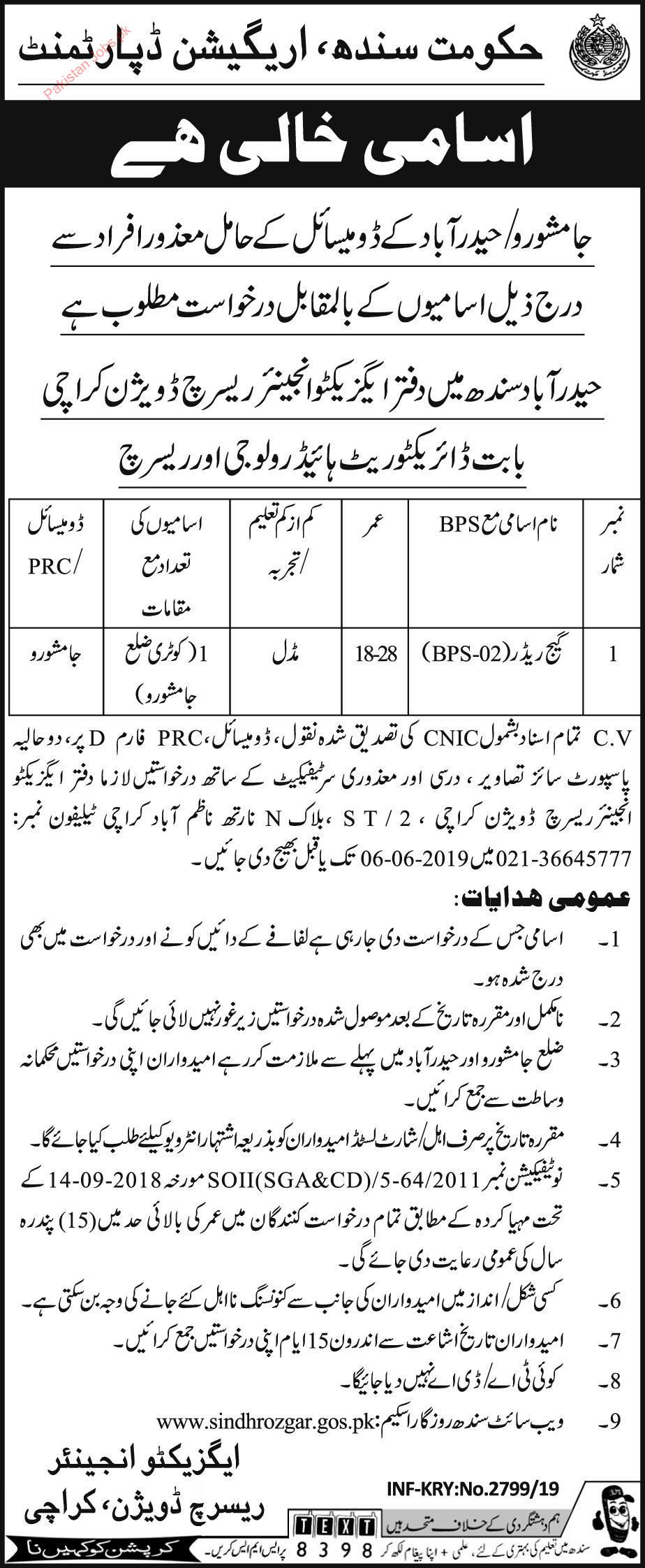Government Of Sindh Irrigation Department Jamshoro JObs 2019 2019
