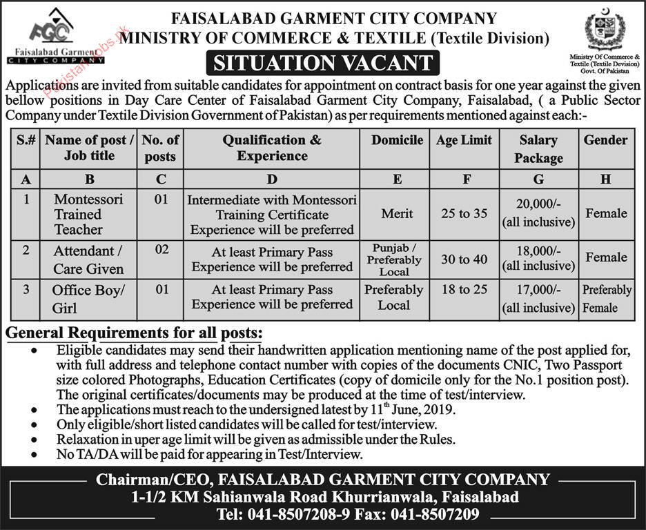 Ministry Of Commerce & Textile Faisalabad Jobs 2019 2019