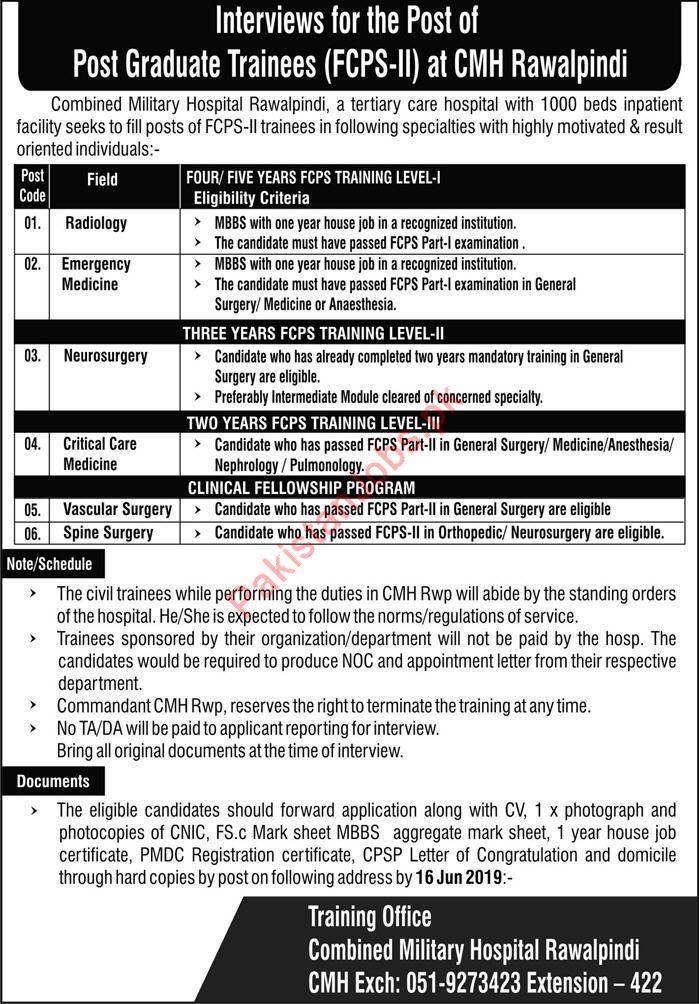 Combined Military Hospital CMH Rawalpindi Jobs 2019 for Medical