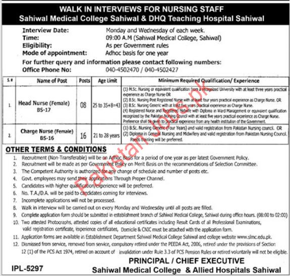 Sahiwal Medical College & DHQ Teaching Hospital Jobs 2019