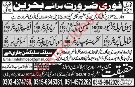 Haqeeqat Manpower Overseas Employment Promoters Jobs 2019