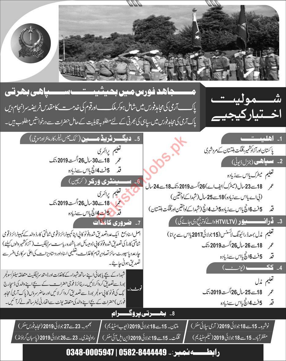 Mujahid Force Jobs 2019 2019 Mujahid Force Jobs in