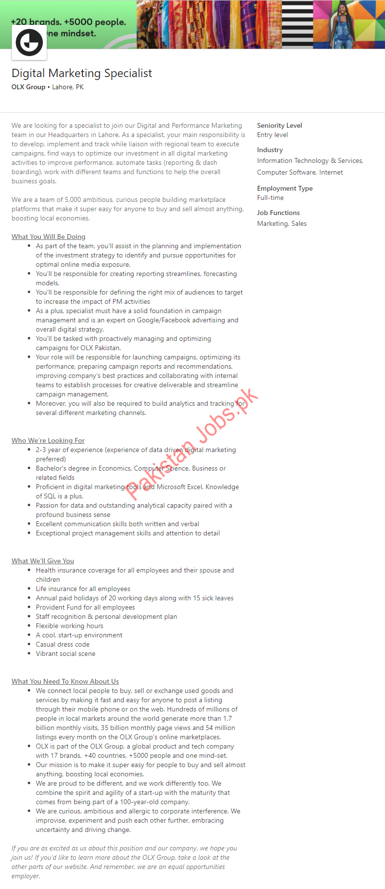 Digital Marketing Specialist Job in Lahore 2019 OLX Group