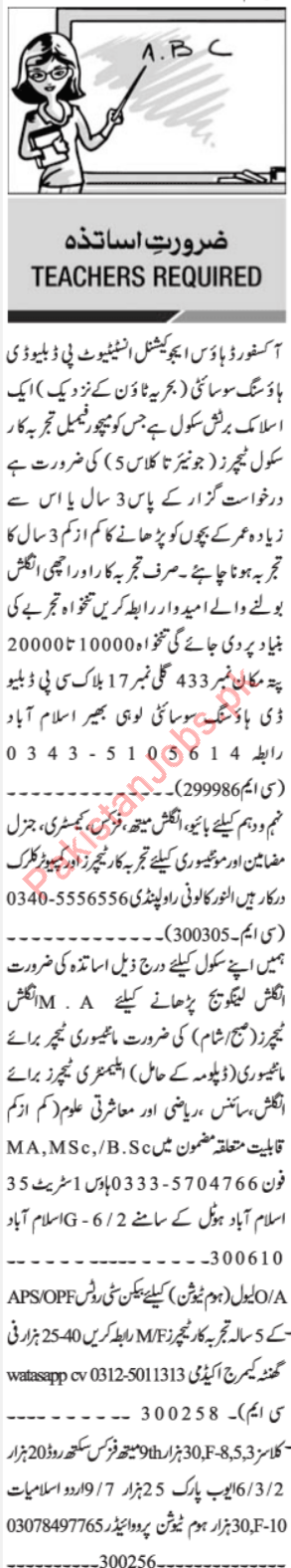 Jang Sunday Classified Ads 14th July 2019 for Educational