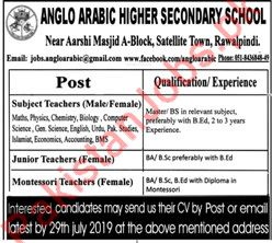 ANGLO ARABIC HIGHER SECONDARY SCHOOL FACULTY JOBS IN