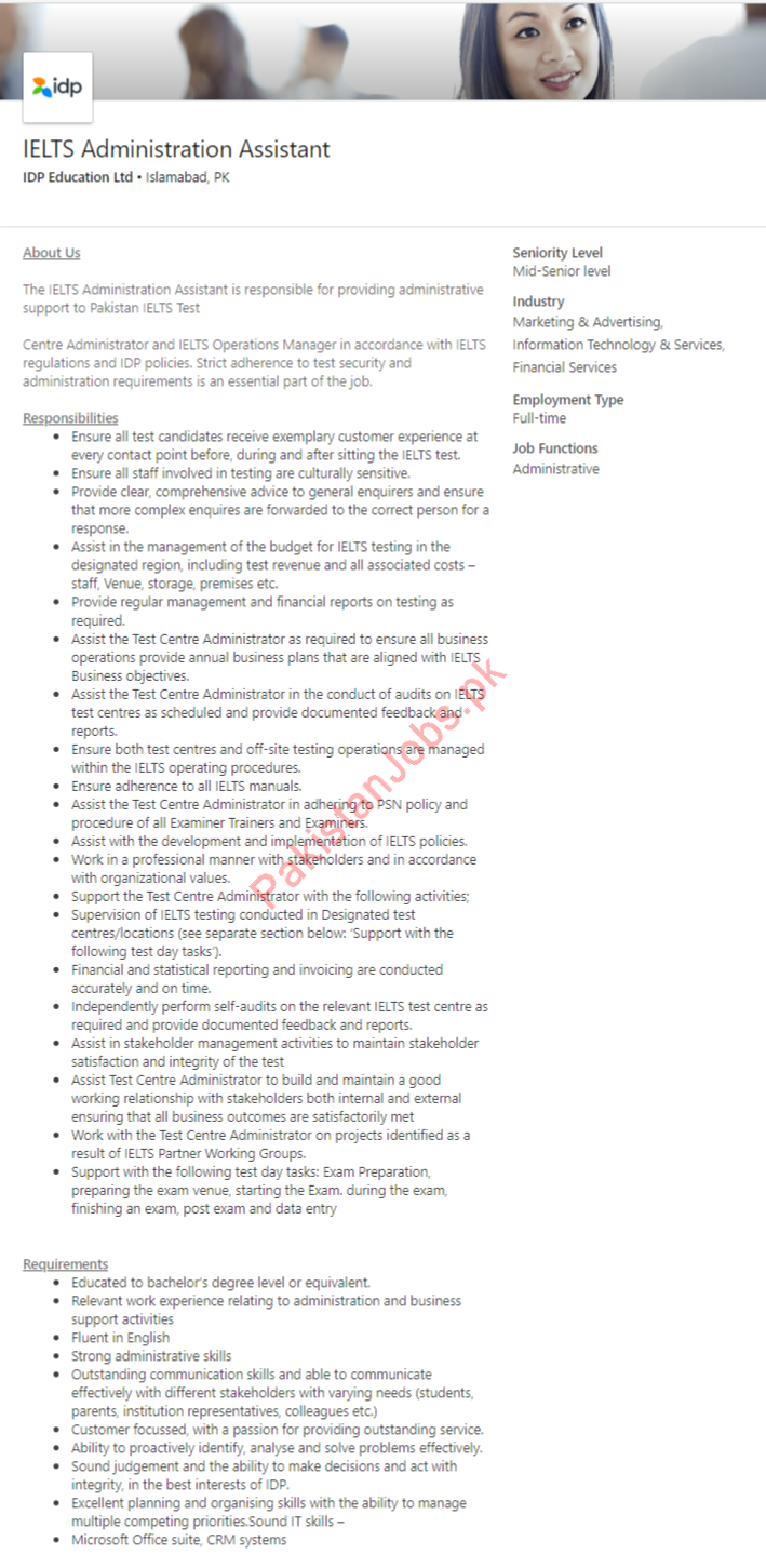 IELTS Administration Assistant Jobs in Islamabad Pakistan 2019 2019