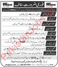 HICO Ice Cream Factory Jobs 2019 in Lahore 2019 HICO Ice