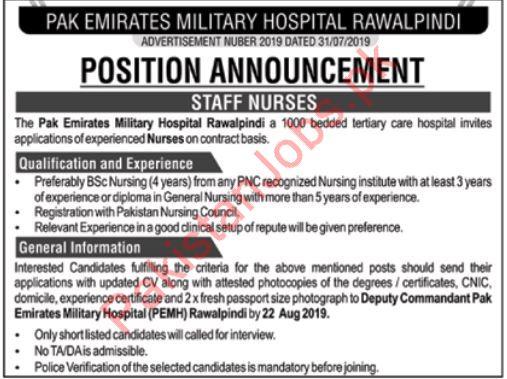 Pak Emirates Military Hospital Jobs 2019 2019 Pak Emirates