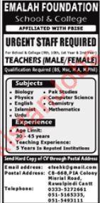 Male & Female Teachers Jobs in Rawalpindi 2019 Emalah