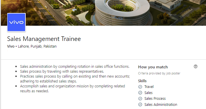 Sales Management Trainee Job in Vivo Company Lahore 2019