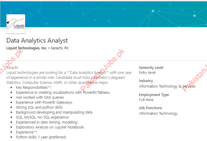 Liquid Technologies Data Analytics Analyst Jobs 2019 2019