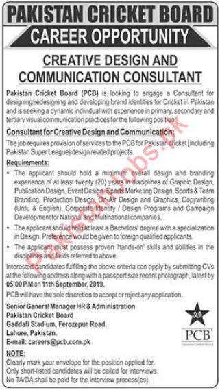 PCB Pakistan Cricket Board Jobs in Lahore 2019 2019 Pakistan