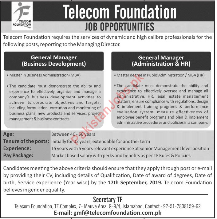 Telecom Foundation TF Complex Jobs for General Manager 2019