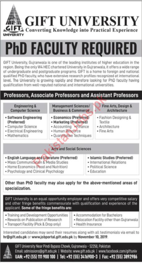 Gift University Jobs 2019 For Phd Faculty 2020 Gift University Jobs In Gujranwala Pakistan