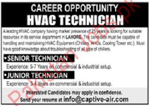 HVAC Technician Job in Lahore 2019 Private Company Jobs in