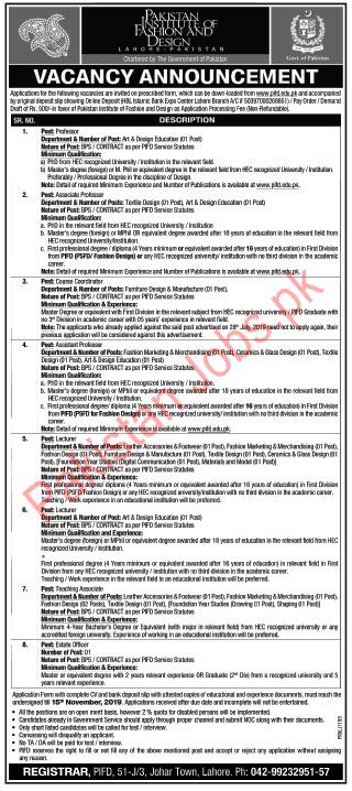 Pakistan Institute Of Fashion Design Lahore Jobs 2019 2020 Pakistan Institute Of Fashion And Design Pifd Jobs In Lahore Pakistan