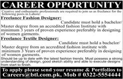 Freelance Fashion Designer Freelance Textile Designer Jobs 2020 2020 Btl Marketing Concepts Jobs In Lahore Pakistan